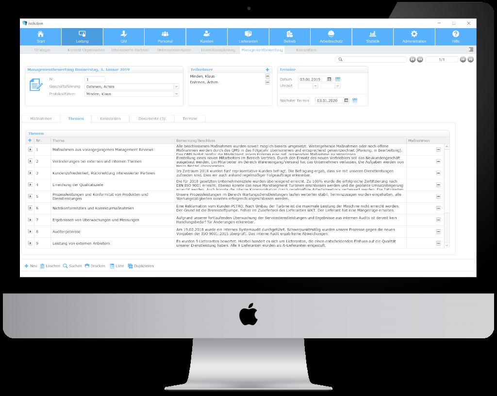 Anlage des Management Review über die Qualitätsmanagement Software